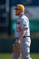 West Virginia Mountaineers first baseman Matt McCormick (25) on defense against the Illinois Fighting Illini at TicketReturn.com Field at Pelicans Ballpark on February 23, 2020 in Myrtle Beach, South Carolina. The Fighting Illini defeated the Mountaineers 2-1.  (Brian Westerholt/Four Seam Images)