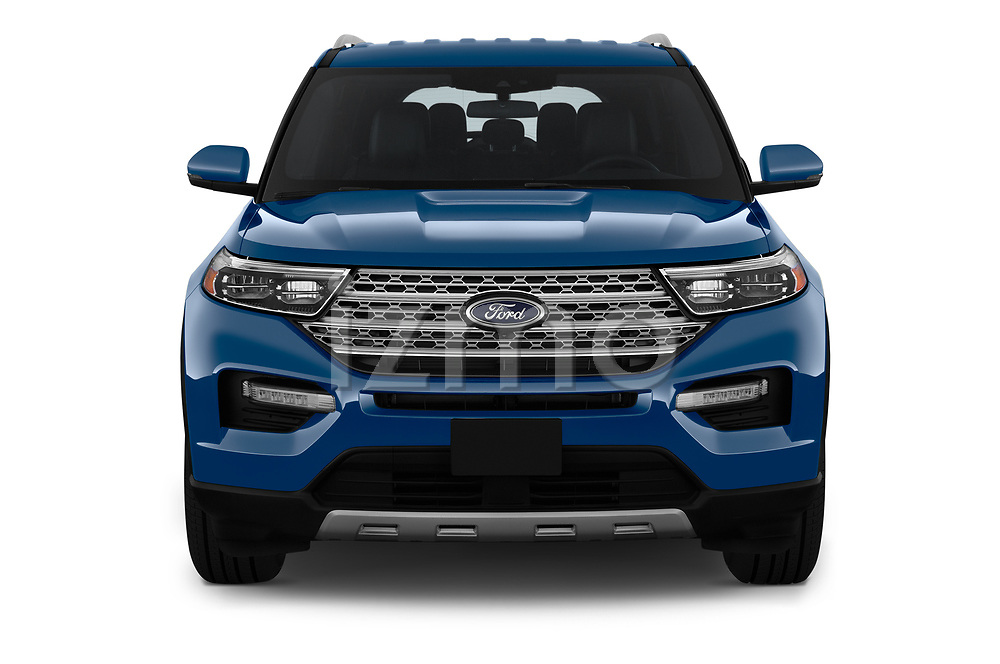 Car photography straight front view of a 2020 Ford Explorer Limited 5 Door SUV Front View