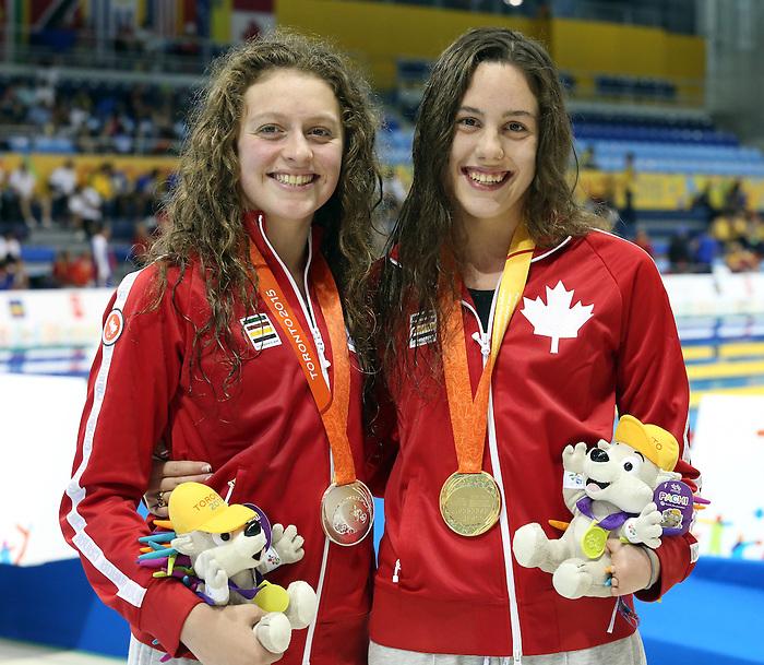 Aurelie Rivard and Samantha Ryan, Toronto 2015 - Para Swimming // Paranatation.<br /> Aurelie Rivard won gold and Samantha Ryan won silver during the 100m butterfly // Aurelie Rivard a remporté l'or et Samantha Ryan a remporté l'argent au 100m papillon. 10/08/2015.