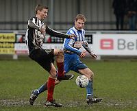 Club Roeselare - WS Oudenburg : Jakob Ingelbeen (links) in duel met Tobias Bilaey (r) <br /> Foto VDB / Bart Vandenbroucke