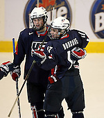 January 30, 2009:  Forward Ryan Bourque (17) of Team USA 18 and under development team celebrates a goal with Nick Mattson (27) during a game vs. the Rochester Institute of Technology (RIT) at Blue Cross Arena in Rochester, NY.  Team USA defeated R.I.T. 6-3.  Photo copyright Mike Janes Photography 2009Bourque has verbally committed to the University of New Hampshire (HEA); son of former NHL star Ray Bourque.
