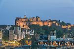 Europe, Great Britain, Scotland, Edinburgh, Edinburgh Castle From Carlton Hill at Dusk