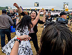 May 18, 2019 : Groom Samantha Bussanich celebrates after War of Will #1, ridden by Tyler Gaffalione, won the Preakness Stakes on Preakness Day at Pimlico Race Course in Baltimore, Maryland. Scott Serio/Eclipse Sportswire/CSM