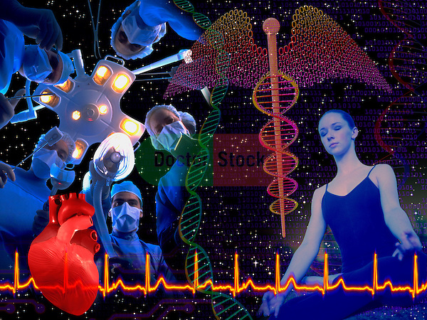 metaphoric composite photo illustration with icons of health including female practicing yoga, a caduceus, a heart rhythm, surgical scene, and deep space imagery