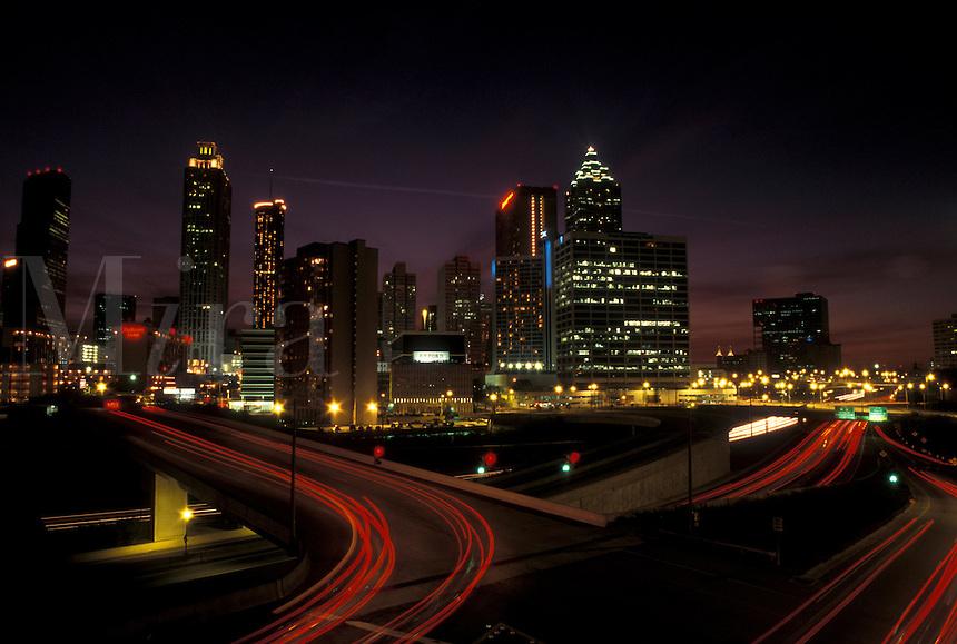 skyline, Atlanta, GA, Georgia, Skyline of downtown Atlanta at night.