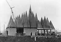 1966 FILE PHOTO - ARCHIVES -<br /> <br /> One of the Canadian exhibition pavilions; is a building of pyramids. Through its doors will pass people from many nations visiting Expo.<br /> <br /> 1966<br /> <br /> PHOTO : Boris Spremo - Toronto Star Archives - AQP