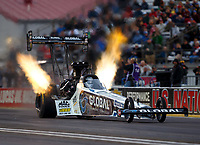 Sep 1, 2017; Clermont, IN, USA; NHRA top fuel driver Shawn Langdon during qualifying for the US Nationals at Lucas Oil Raceway. Mandatory Credit: Mark J. Rebilas-USA TODAY Sports