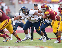 September 22, 2012: California's Viliami Moala guarding his line of scrimmage during a game against USC at the Los Angeles Memorial Coliseum, Los Angeles, Ca  USC defeated California 27- 9
