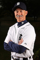 February 27, 2010:  Coach Tom Brookens (61) of the Detroit Tigers poses for a photo during media day at Joker Marchant Stadium in Lakeland, FL.  Photo By Mike Janes/Four Seam Images