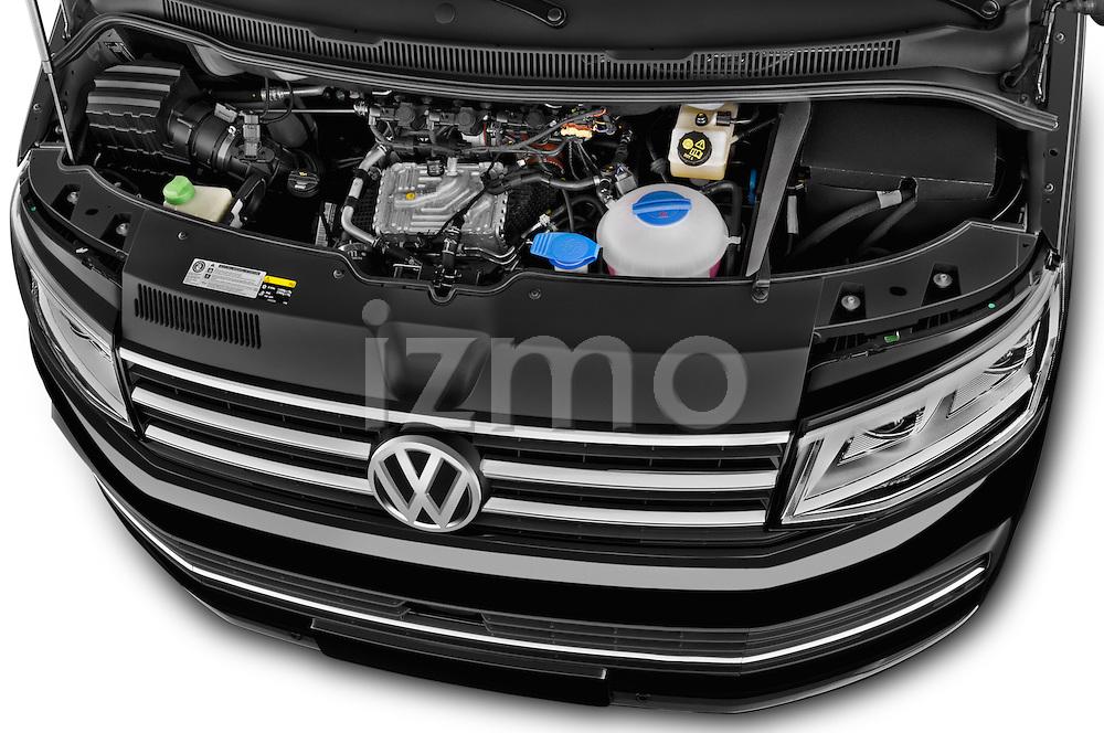 Car Stock 2016 Volkswagen Multivan Comfortline BMT 5 Door Passenger Van Engine high angle detail view