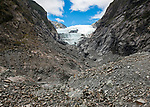 View of the Franz Josef Glacier from a terminal moraine left by the receding glacier