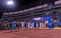 SAN PEDRO SULA, HONDURAS - SEPTEMBER 8: Honduras enters the field before a game between Honduras and USMNT at Estadio Olímpico Metropolitano on September 8, 2021 in San Pedro Sula, Honduras.