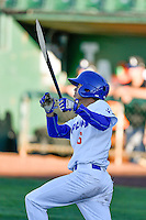 Moises Perez (6) of the Ogden Raptors at bat against the Missoula Osprey in Pioneer League action at Lindquist Field on July 13, 2016 in Ogden, Utah. Ogden defeated Missoula 8-2. (Stephen Smith/Four Seam Images)