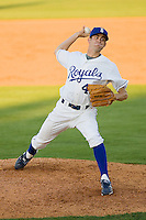 Relief pitcher Chas Byrne #40 of the Burlington Royals in action against the Kernersville Bulldogs in an exhibition game at Burlington Athletic Stadium June20, 2010, in Burlington, North Carolina.  Photo by Brian Westerholt / Four Seam Images