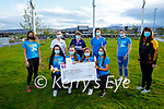 Members of the Listowel Emmets Ladies football club present a cheque worth €3,140 to the staff of UHK Critical Care Unit on Tuesday evening from their 10k fundraiser. Kneeling l to r: Nora Keane, Eve Hanley, Daisy Walsh and Kelly McGrath. Back l to r: Rebecca Stapleton, Morissa O'Leary (UHK), Margaret Griffin (UHK), Amy Griffin(UHK), Leah Henry and Orla Keane.