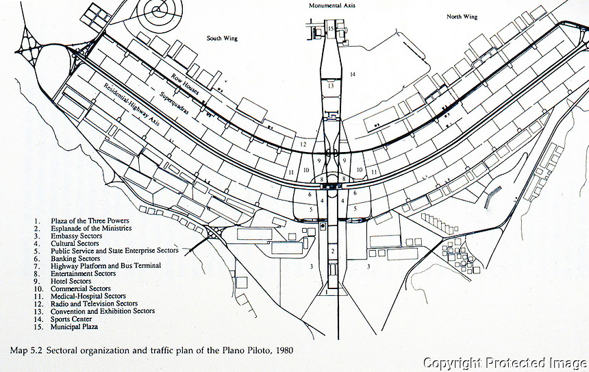 Brasila:  The Modernist City--Sectional Organization and Traffic Plan.  James Holston, THE MODERNIST CITY.