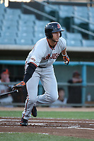 Gio Brusa (26) of the San Jose Giants bats against the Lancaster JetHawks at The Hanger on April 10, 2017 in Lancaster, California. Lancaster defeated San Jose 11-7. (Larry Goren/Four Seam Images)
