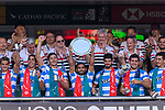 Argentina Squad poses with their Trophy during the HSBC Hong Kong Sevens 2018 match for Plate Final between Argentina and USA on 08 April 2018, in Hong Kong, Hong Kong. Photo by Marcio Rodrigo Machado / Power Sport Images