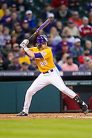 LSU Tigers third baseman Conner Hale (20) at bat during the Houston College Classic against the Nebraska Cornhuskers on March 8, 2015 at Minute Maid Park in Houston, Texas. LSU defeated Nebraska 4-2. (Andrew Woolley/Four Seam Images)