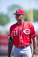 Cincinnati Reds pitcher Hunter Greene (21) walks to the dugout prior to an Instructional League game against the Kansas City Royals October 2, 2017 at Surprise Stadium in Surprise, Arizona. (Zachary Lucy/Four Seam Images)