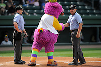 Entertainer Reggy the Purple Party Dude teases umpires Andrew Freed, left, and Jorge Teran during a game between the Charleston RiverDogs and Greenville Drive on Sunday, April 7, 2013, at Fluor Field at the West End in Greenville, South Carolina. Charleston won, 5-0. (Tom Priddy/Four Seam Images)