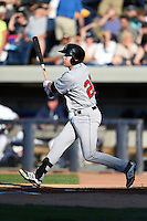 Great Lakes Loons third baseman Paul Hoenecke (28) at bat during a game against the West Michigan Whitecaps on June 5, 2014 at Fifth Third Ballpark in Comstock Park, Michigan.  West Michigan defeated Great Lakes 6-2.  (Mike Janes/Four Seam Images)