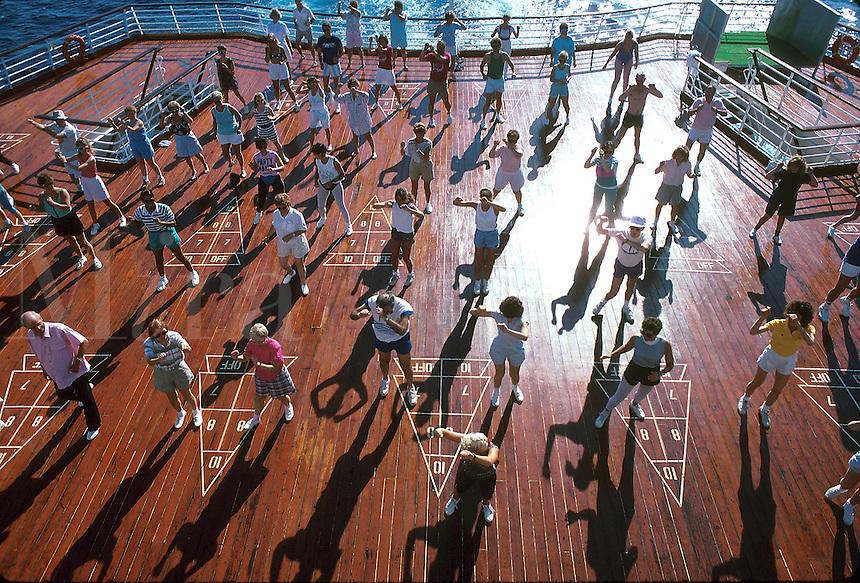 Exercise class on the cruise ship SS Song of America, Atlantic ocean, 05-1015, Ship, Royal Caribbean Cruise Line. Caribbean Sea.