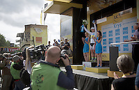 white jersey Peter Sagan (SVK/Cannondale) on the podium<br /> <br /> stage 9: TTT Vannes - Plumelec (28km)<br /> 2015 Tour de France