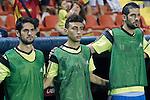 Spain's Isco, Munir El Haddadi and Kiko Casilla during 15th UEFA European Championship Qualifying Round match. September 8,2014.(ALTERPHOTOS/Acero)
