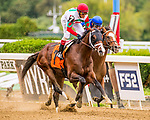 SEPT 07, 2019 :   Alpha Sixty Six #7, with John Velazquez, outduels Hemlock to win a MSW for 2 year olds, going 6 1/2 furlongs, at Belmont Park, in Elmont, NY, Sept 7, 2019.  Dan Heary_ESW_CSM,