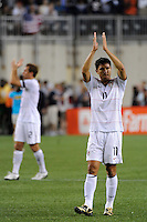 Brian Ching (11) of the United States (USA) salutes the fans after the match. The United States and Haiti played to a 2-2 tie during a CONCACAF Gold Cup Group B group stage match at Gillette Stadium in Foxborough, MA, on July 11, 2009. .