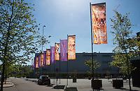 The Netherlands, Den Bosch, 16.04.2014. Fed Cup Netherlands-Japan, flags in front of Maaspoort building<br /> Photo:Tennisimages/Henk Koster