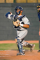 Catcher Tomas Francisco #20 of the Princeton Rays makes a throw to third base following a strikeout at DeVault Memorial Stadium June 26, 2009 in Bristol, Virginia. (Photo by Brian Westerholt / Four Seam Images)