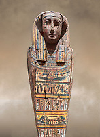 Ancient Egyptian wooden sarcophagus - the tomb of Tagiaset, Iuefdi & Harwa circa 25nd Dynasty (7th cent BC.) Thebes. Egyptian Museum, Turin.<br /> <br /> Possibly the sarcophagus of the daughter of Tagiaset. There is a depiction of a wesekh collar around the neck.