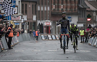 race winner Guillaume van Keirsbulck (BEL/Wanty-Groupe Gobert) crossing the finish line ahead of Alex Kirsch (LUX/WB Veranclassic - Aqua Protect)<br /> <br /> GP Le Samyn 2017 (1.1)