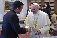 Pope Francis meets with Zoran Zaev prime minister of Macedonia at the Vatican on May 25, 2018.