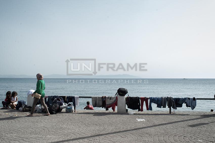 Makeshift clothes rack on the promenade. Kos, Greece. Sept. 7, 2015