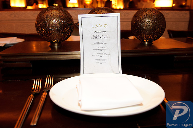 """Special Dinner menu for Christian Combs 12th birthday, son of Sean """"P Diddy"""" Combs"""" at Lavo restaurant, Las Vegas, NV, April 1,  2010 © Al Powers / RETNA ltd"""