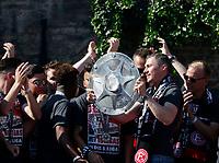 Duesseldorf, Germany, 2. Bundesliga, promotion to 1. Bundesliga of  Fortuna Duesseldorf, team celebrates at Rathausmarkt of Duesseldorf, 14.05.2018<br /> Oliver FINK (F95) 2.v.- and Meisterschale.<br /> *** Local Caption *** © pixathlon<br /> Contact: +49-40-22 63 02 60 , info@pixathlon.de