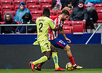 Diego Costa (R) of Atletico de Madrid competes for the ball with Dakonam Ortega Djene of Getafe CF during the La Liga 2017-18 match between Atletico de Madrid and Getafe CF at Wanda Metropolitano on January 06 2018 in Madrid, Spain. Photo by Diego Gonzalez / Power Sport Images