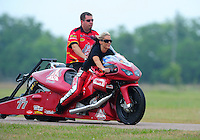 April 30, 2011; Baytown, TX, USA: NHRA pro stock motorcycle rider Angie Smith during the Spring Nationals at Royal Purple Raceway. Mandatory Credit: Mark J. Rebilas-