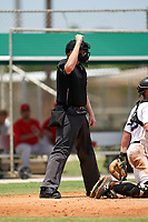 Umpire Jacob McConnell calls a strike during a Gulf Coast League game between the GCL Cardinals and GCL Marlins on August 12, 2019 at the Roger Dean Chevrolet Stadium Complex in Jupiter, Florida.  GCL Marlins defeated the GCL Cardinals 9-2.  (Mike Janes/Four Seam Images)