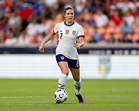 HOUSTON, TX - JUNE 10: Abby Dahlkemper #7 of the USWNT dribbles during a game between Portugal and USWNT at BBVA Stadium on June 10, 2021 in Houston, Texas.