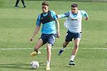 Getafe CF's Sofian Chakla (l) and Mauro Arambarri during training session. February 17, 2021.(ALTERPHOTOS/Acero)