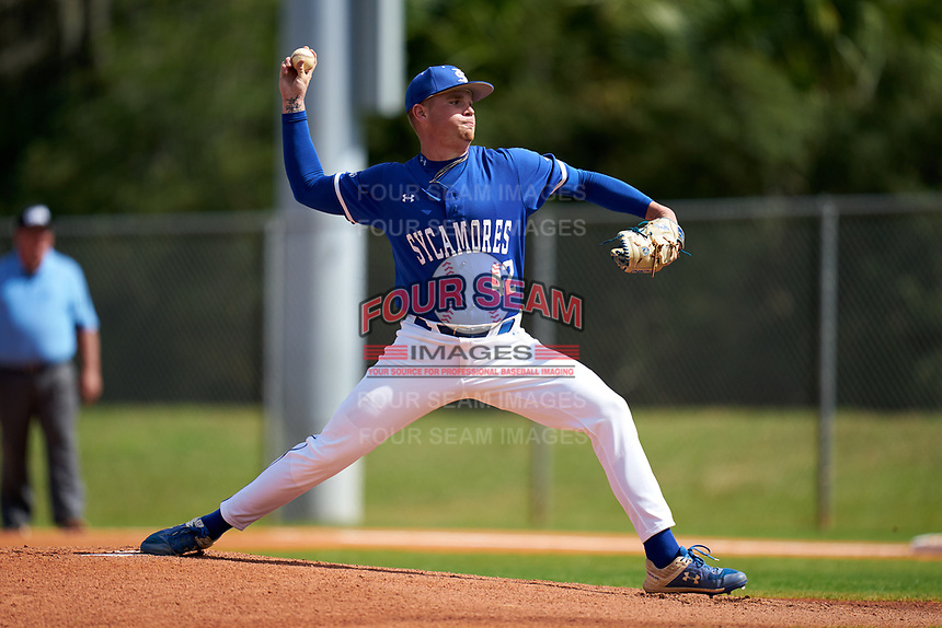Indiana State Sycamores pitcher Lane Miller (42) during a game against the Chicago State Cougars on February 23, 2020 at North Charlotte Regional Park in Port Charlotte, Florida.  Chicago State defeated Indiana State 3-0.  (Mike Janes/Four Seam Images)