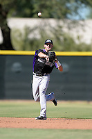 Colorado Rockies shortstop Trevor Story (9) during an instructional league game against the Los Angels Angels of Anaheim on September 30, 2013 at Tempe Diablo Stadium Complex in Tempe, Arizona.  (Mike Janes/Four Seam Images)