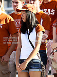 Texas Longhorns fans watch the game between the Brigham Young Cougars and the Texas Longhorns at the Darrell K Royal - Texas Memorial Stadium in Austin, Texas. Texas defeats Brigham Young 17 to 16...