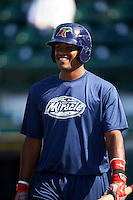 Fort Myers Miracle catcher Brian Navarreto (23) during practice before a game against the Bradenton Marauders on April 9, 2016 at McKechnie Field in Bradenton, Florida.  Fort Myers defeated Bradenton 5-1.  (Mike Janes/Four Seam Images)