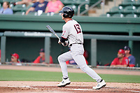 First baseman Jake Guenther (15) of the Hickory Crawdads in a game against the Greenville Drive on Friday, June 18, 2021, at Fluor Field at the West End in Greenville, South Carolina. (Tom Priddy/Four Seam Images)