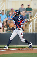 Braden Shewmake (39) of the Rome Braves follows through on his swing against the Kannapolis Intimidators at Kannapolis Intimidators Stadium on July 3, 2019 in Kannapolis, North Carolina.  The Braves defeated the Intimidators 13-11, (Brian Westerholt/Four Seam Images)